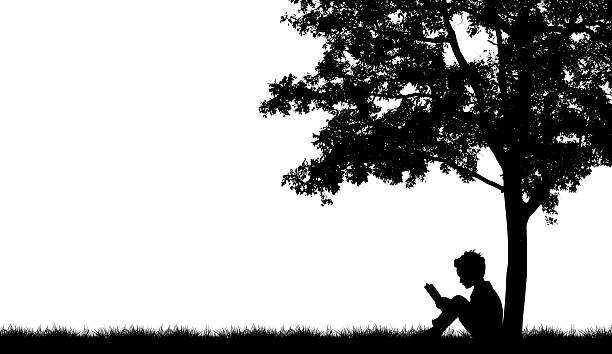 silhouettes of children read book under tree - clip art stock photos and pictures