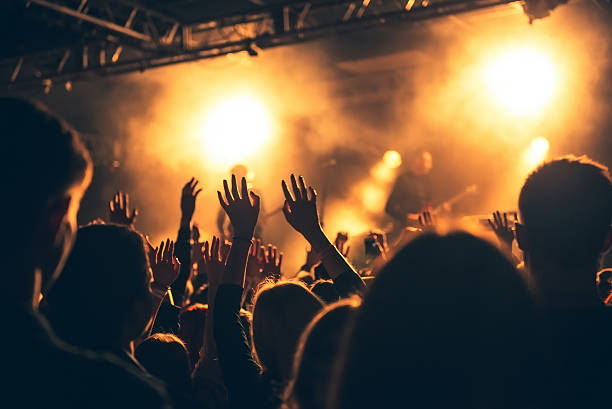 silhouettes of concert crowd in front of bright stage lights - rock music stock pictures, royalty-free photos & images