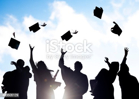 istock Silhouettes of Diverse International Students Celebrating Graduation 483505129