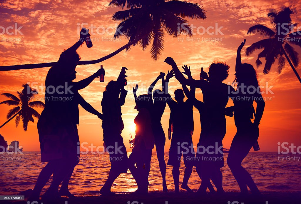 Silhouettes of Diverse Multiethnic People Partying foto