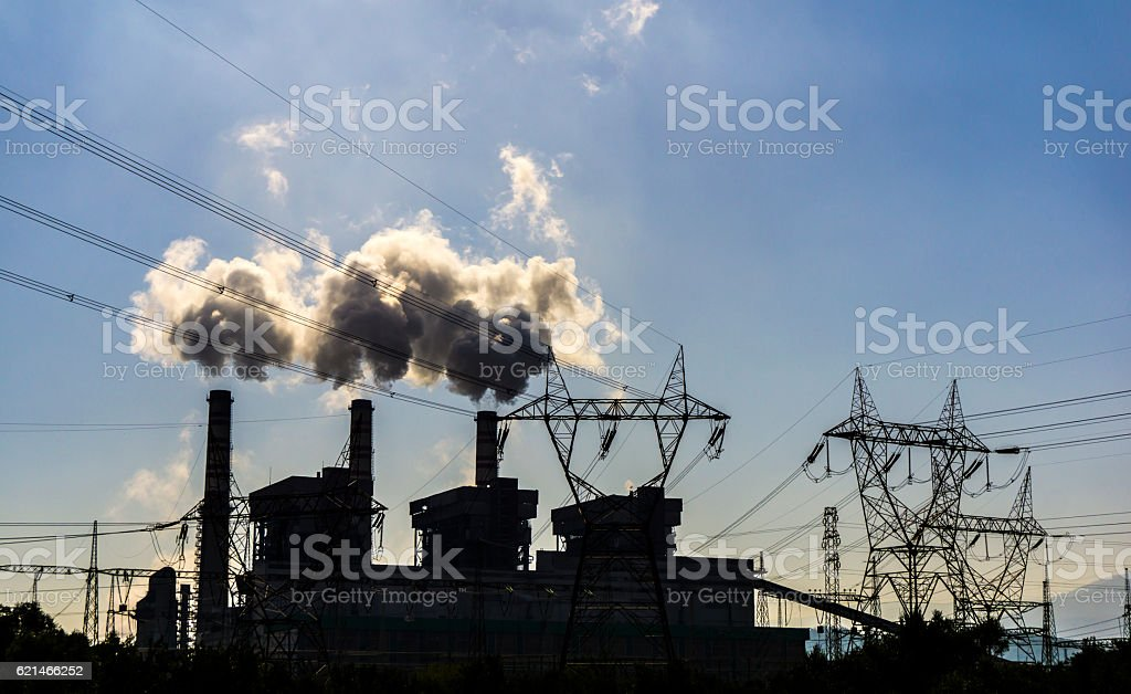 Silhouettes Of Factory stock photo