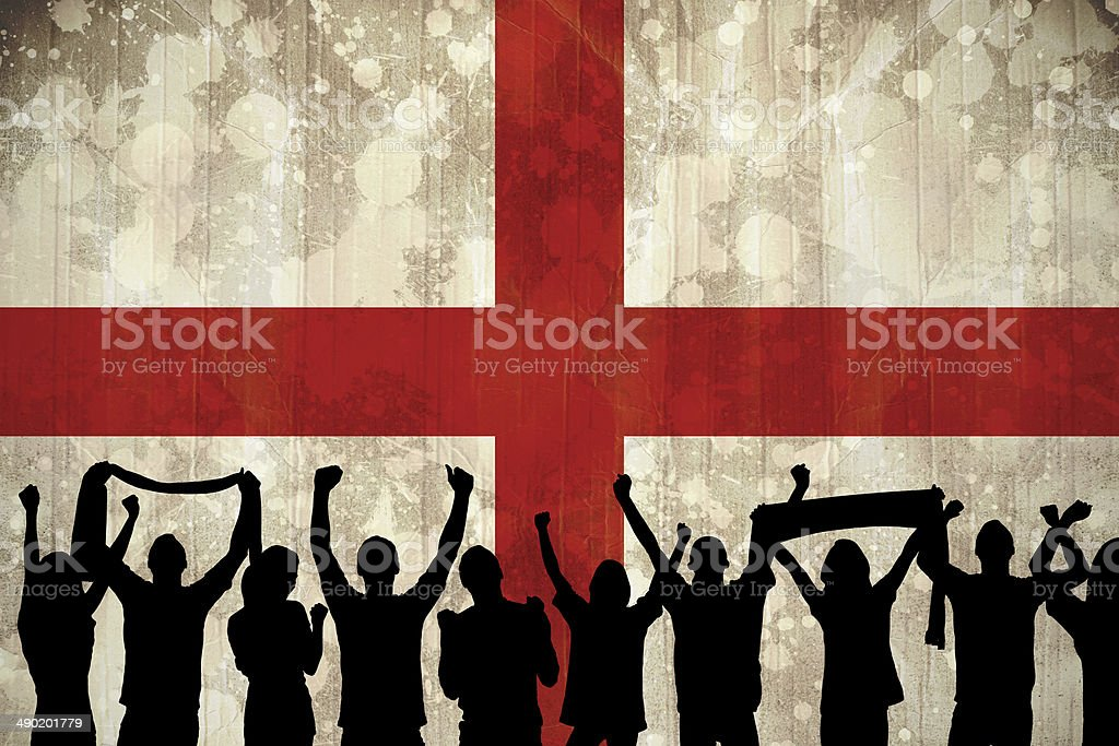 Silhouettes of football supporters royalty-free stock photo