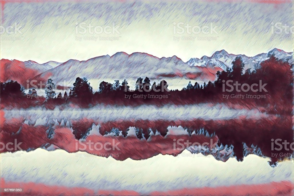 Silhouettes of forest and mountains reflecting in lake - digital illustration stock photo