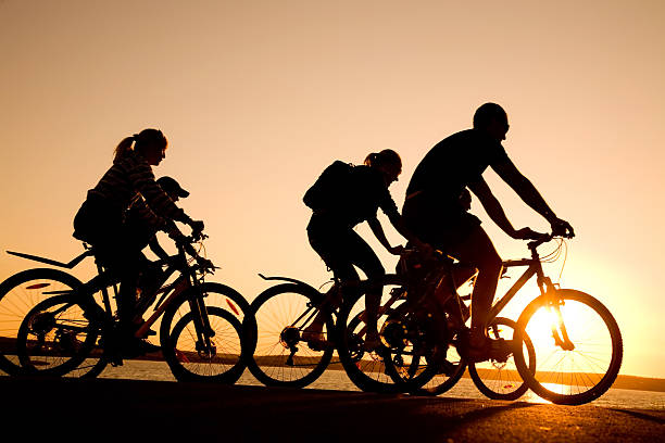 Silhouettes of friends riding bicycles at sunset Image of sporty company  friends on bicycles outdoors against sunset. Silhouette female biker resting stock pictures, royalty-free photos & images