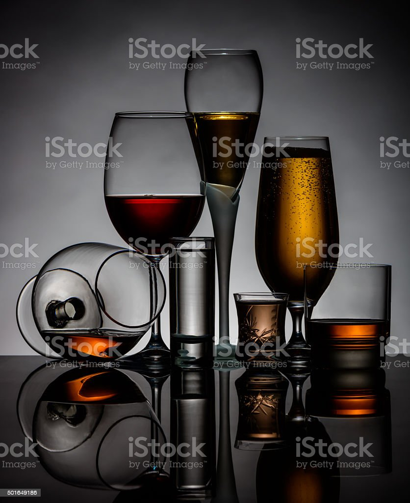silhouettes of glasses stock photo