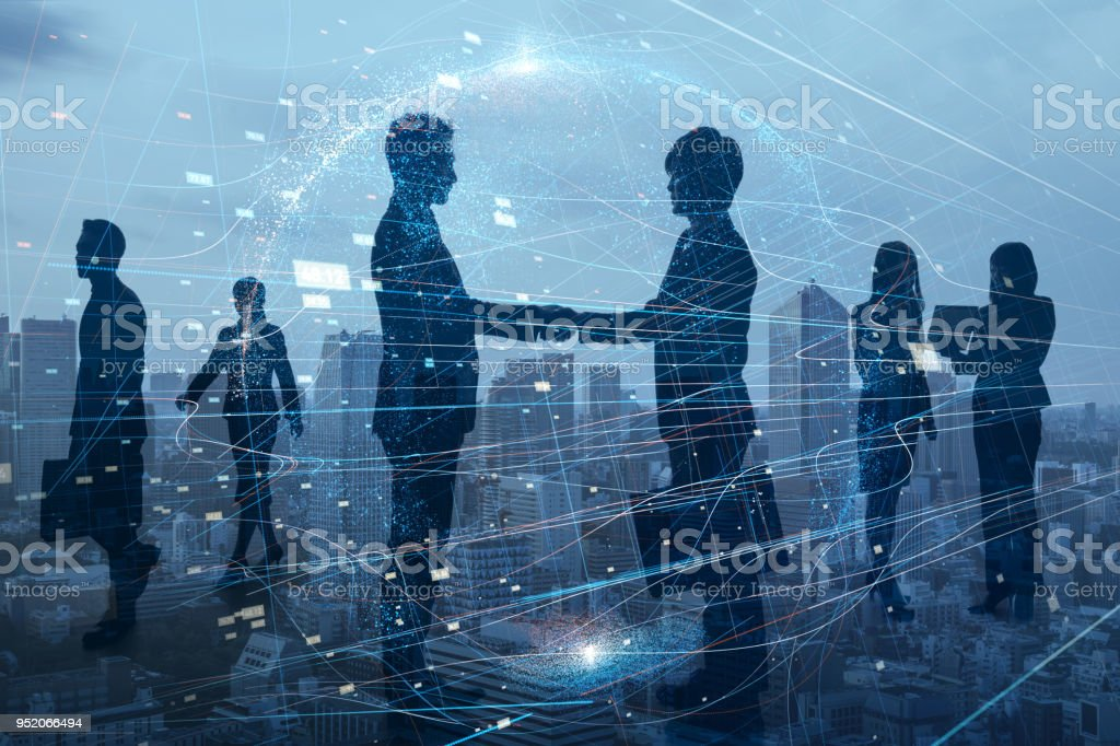 Silhouettes of group of businessperson. Global business network concept. - Royalty-free Adult Stock Photo