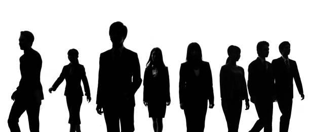 silhouetten der gruppe von geschäftsleuten. - gegenlicht stock-fotos und bilder