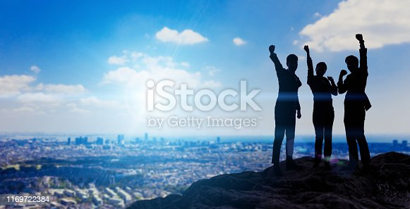 Silhouettes of happy businessperson. Success of business concept.
