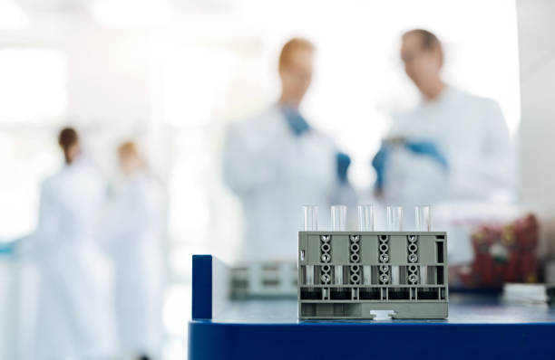 Silhouettes of medical workers standing on the background Gray support. Close up photo of set with reagents standing on the table while being ready for experiment dna purification stock pictures, royalty-free photos & images
