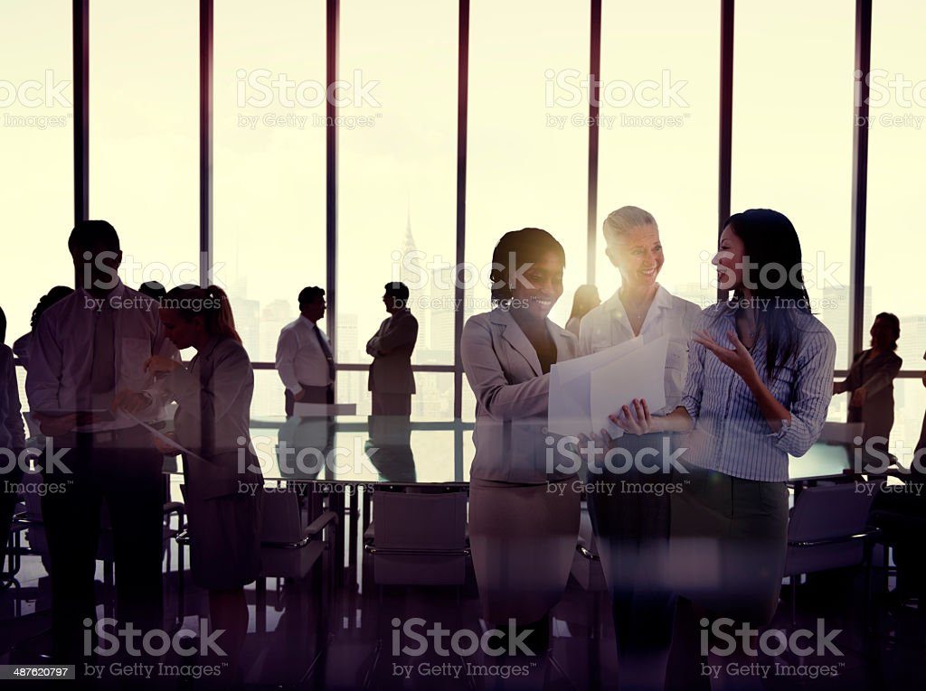 Silhouettes Of Multi-Ethnic Group Of Business People stock photo