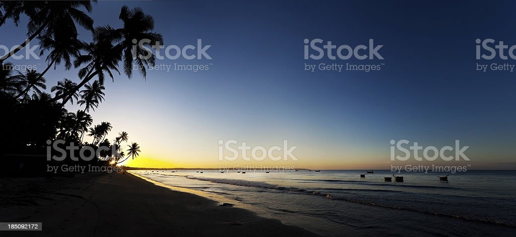 Silhouettes of palm trees and fishing boats. Panoramic shot. royalty-free stock photo