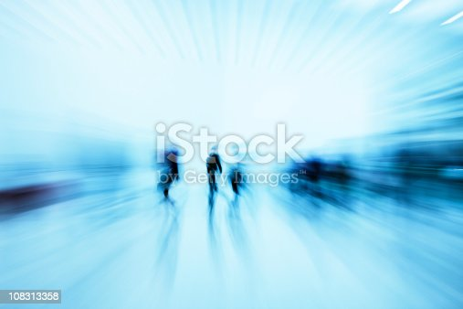 istock Silhouettes of Pedestrians Rushing in Blue Corridor, Blurred Motion 108313358