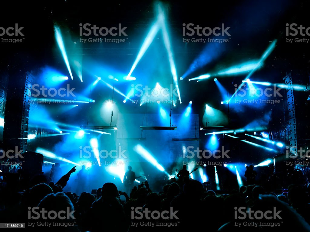 Silhouettes of people and musicians stock photo