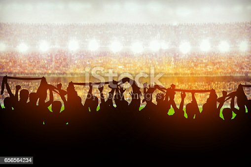 istock Silhouettes of soccer or rugby supporters in the stadium during match 656564234