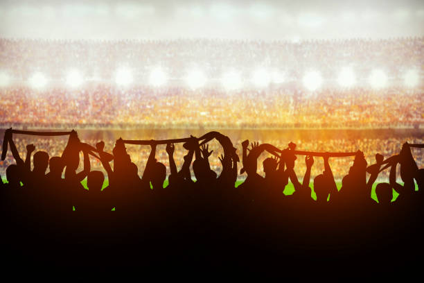 Silhouettes of soccer or rugby supporters in the stadium during match