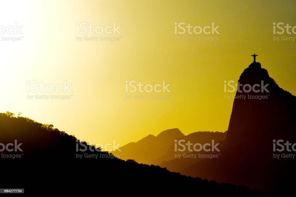 Silhouettes of Sugarloaf mountain Rio de Janeiro, Brazil stock photo