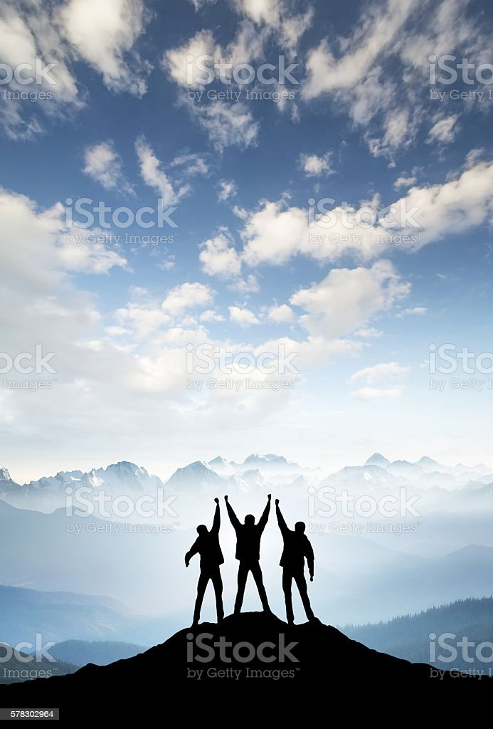Silhouettes of team stock photo
