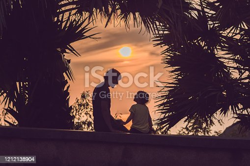 497142294 istock photo Silhouettes of the father and son, who meet the sunset in the tropics against the backdrop of palm trees 1212138904