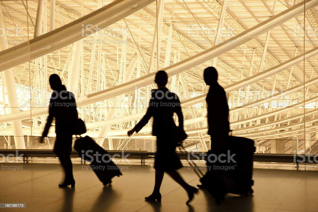 Silhouettes of Travellers in Airport, Blurred Motion stock photo