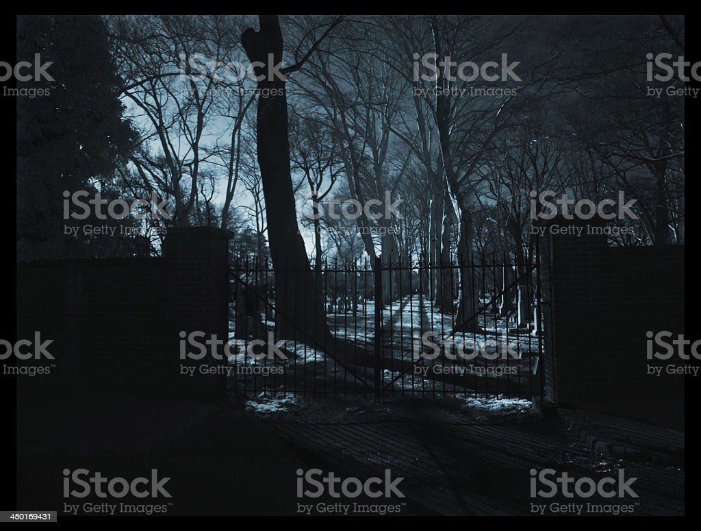 A spooky image of the gates entering an old cemetery and toned blue...