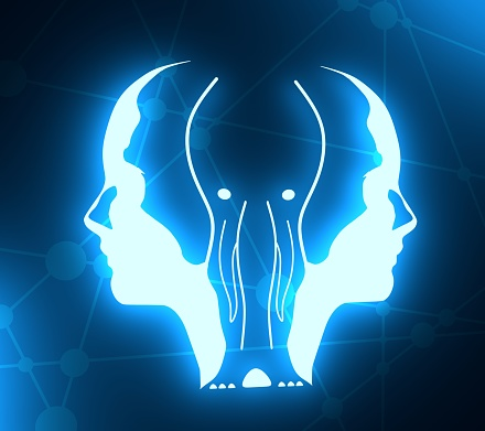 istock Silhouettes of two head. 1173282457