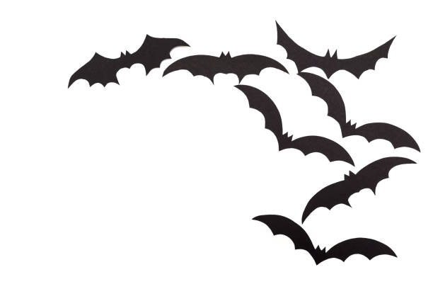 Silhouettes of volatile bats carved out of black paper are isolated on white Silhouettes of volatile bats carved out of black paper are isolated on white for Halloween festival military attack stock pictures, royalty-free photos & images