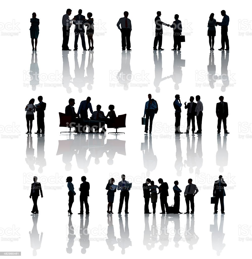 Silhouettes of World Business People stock photo