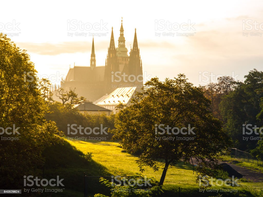 Silhoutte of St. Vitus Cathedral in sunny morning haze, Hradcany, Prague, Czech Republic stock photo