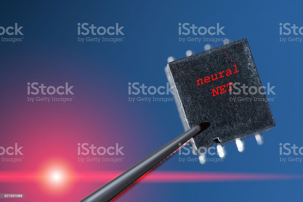 Silicon chip with an artificial neural network stock photo