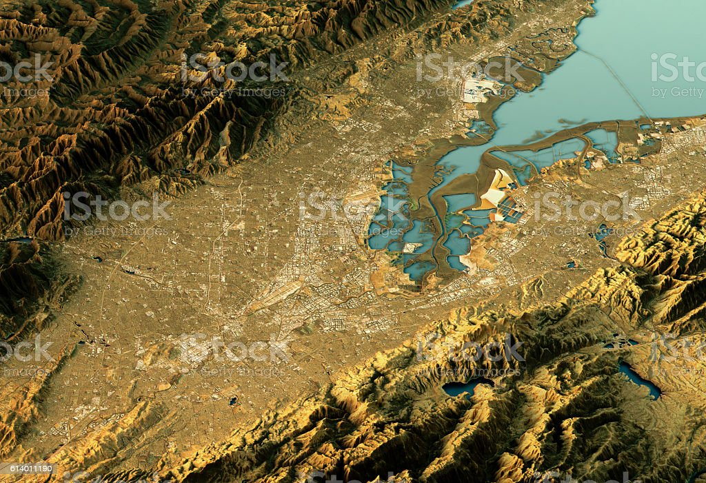 Silicon Valley 3D Landscape View East-West Natural Color stock photo