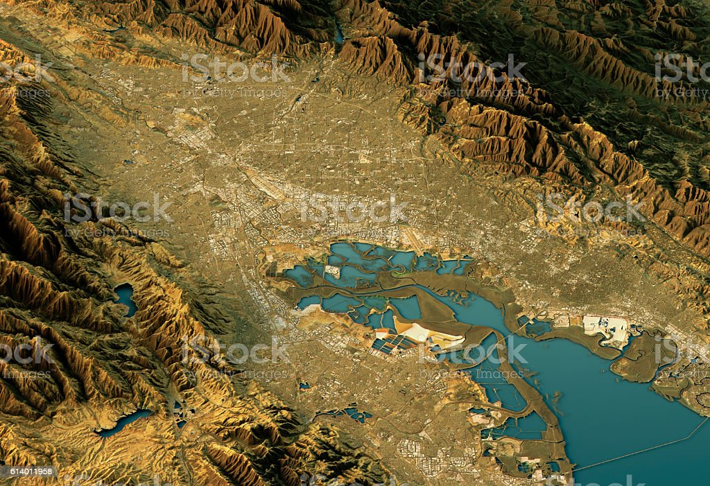 Silicon Valley 3D Landscape View North-South Natural Color stock photo