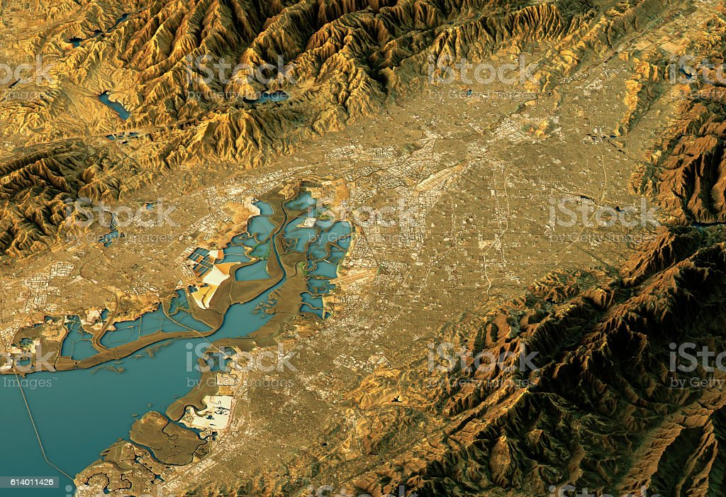Silicon Valley 3D Landscape View West-East Natural Color stock photo