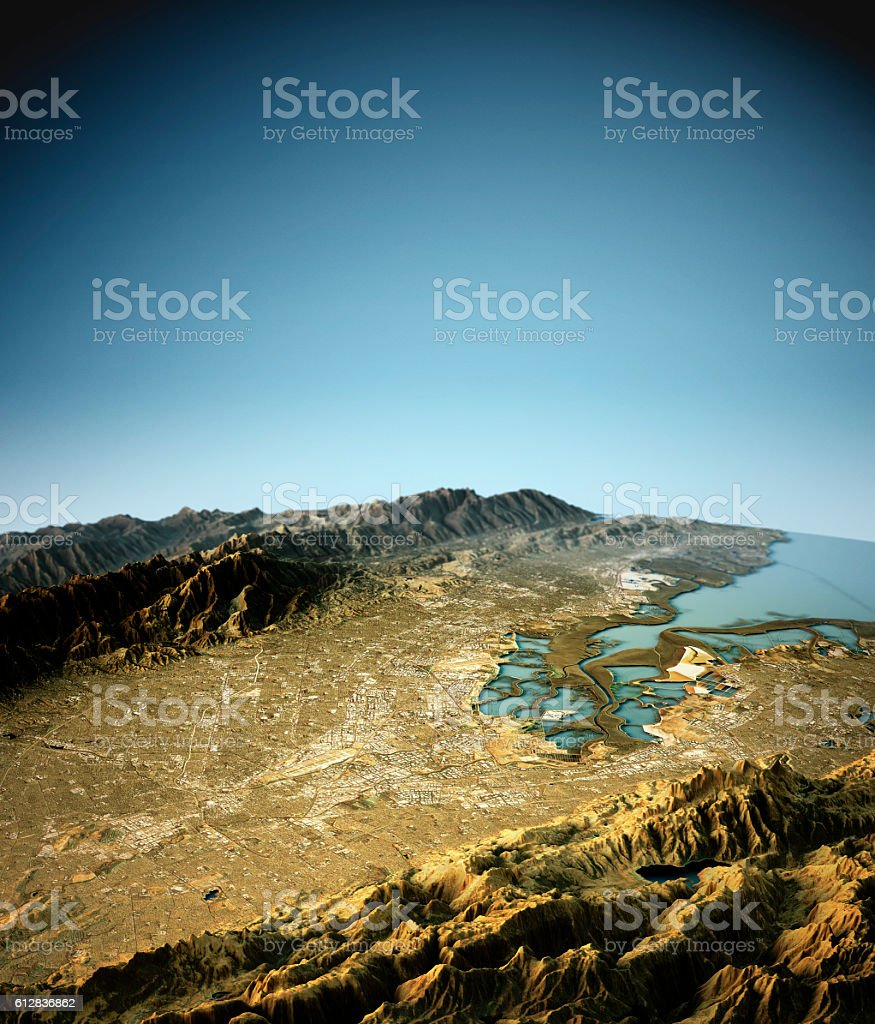 Silicon Valley 3D View East To West Natural Color stock photo
