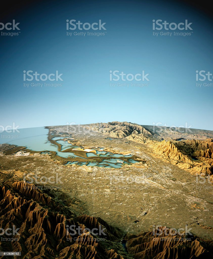 Silicon Valley 3D View South To North Natural Color stock photo