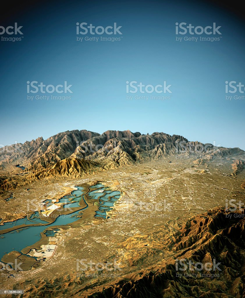 Silicon Valley 3D View West To East Natural Color stock photo