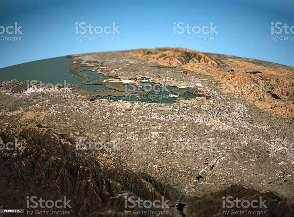 Silicon Valley 3D View Wide Angle Natural Color stock photo