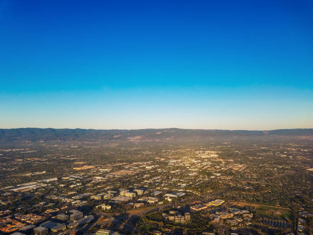 silicon valley-luftbild - süd kalifornien stock-fotos und bilder