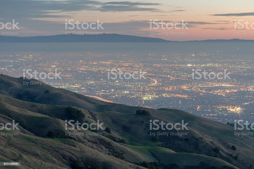 Silicon Valley and Rolling Hills at Dusk stock photo