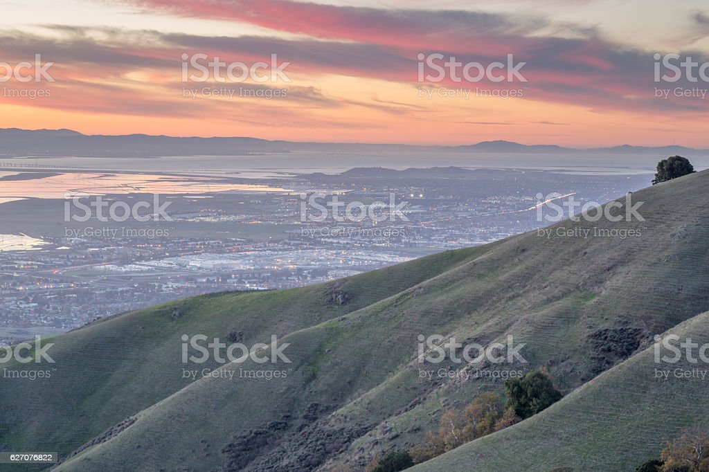 Silicon Valley and Rolling Hills at Sunset stock photo