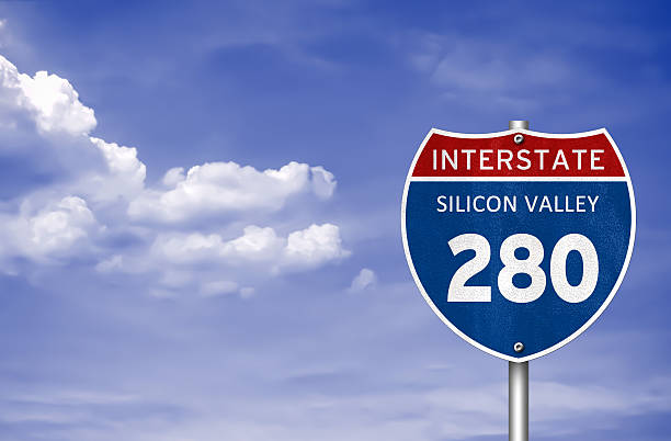 Silicon Valley Interstate road sign stock photo