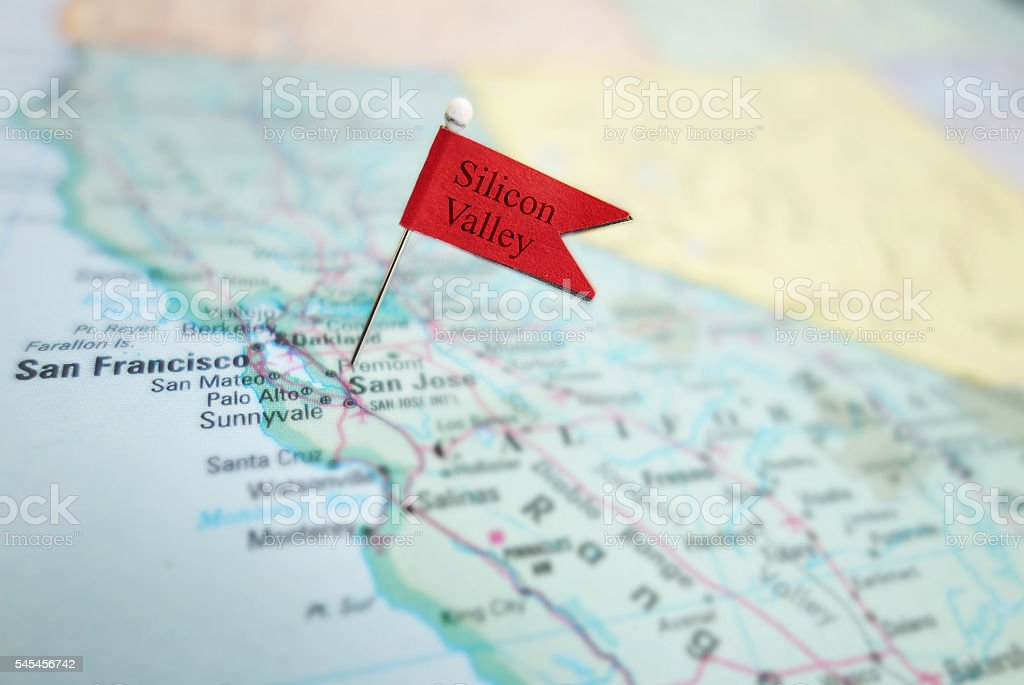 Silicon Valley pin flag stock photo