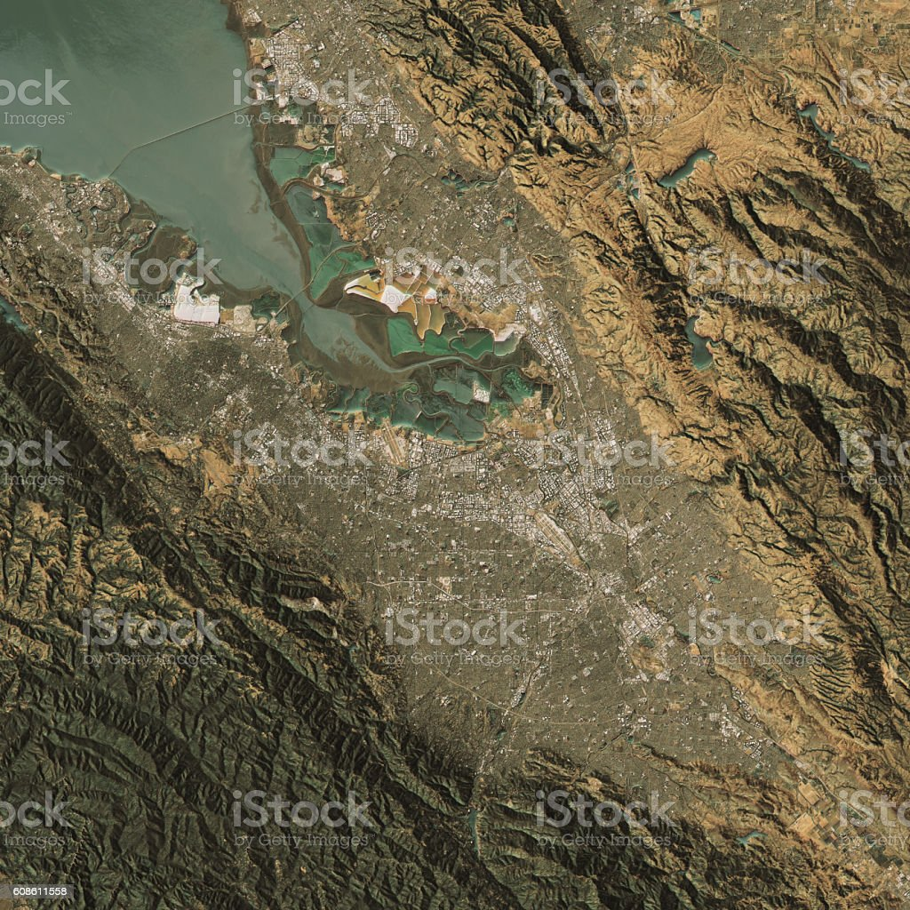 Silicon Valley Topographic Map Natural Color Top View stock photo