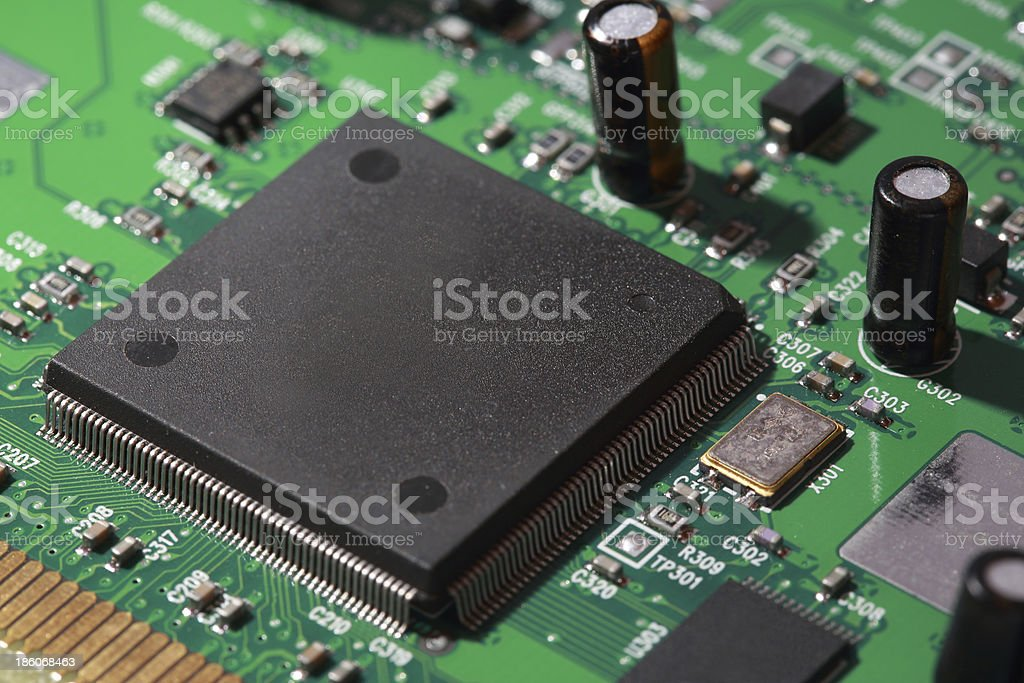 Silicone chips on electronic circuit stock photo