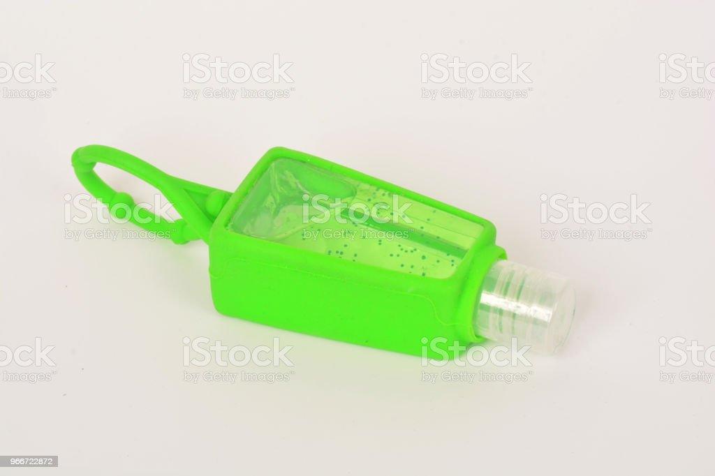 titular de desinfetante de mão do silicone e álcool Gel higienizador de mãos - foto de acervo