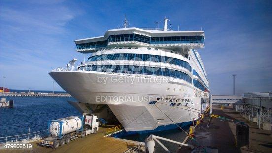Tallinn, Estonia - March 9, 2014: Tallink ferry M/S Silja Europa docked at Tallinn harbour with bow doors open and a truck driving inside.