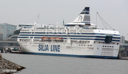 Looking At Building Exterior, Docked Silja Line Passenger Cruise Ship In Stockholm City Sweden Northern Europe