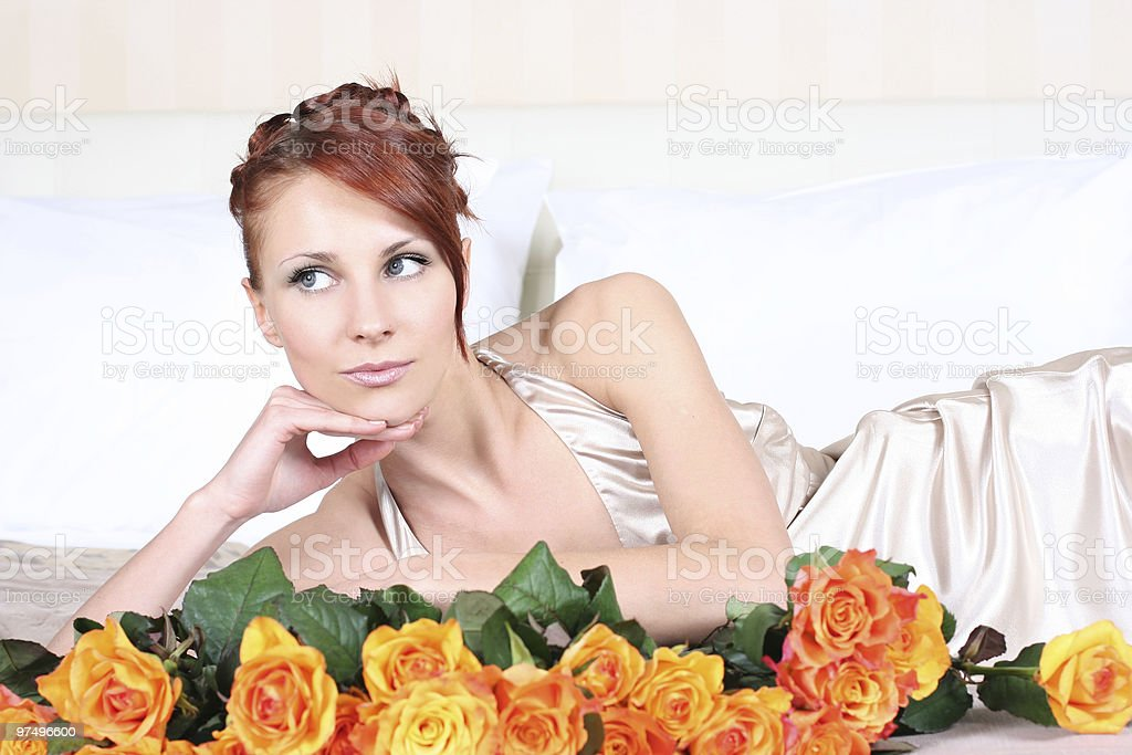 silk and roses royalty-free stock photo
