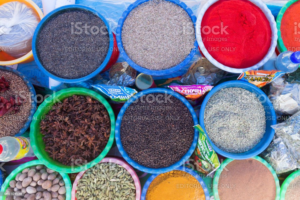 BUKHARA, UZBEKISTAN - MAY 25, 2018: Silk and Spices Festival 2018. Traditional asian spice bazaar in Bukhara, Uzbekistan. royalty-free stock photo