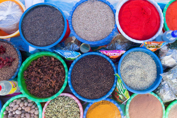 BUKHARA, UZBEKISTAN - MAY 25, 2018: Silk and Spices Festival 2018. Traditional asian spice bazaar in Bukhara, Uzbekistan. BUKHARA, UZBEKISTAN - MAY 25, 2018: Silk and Spices Festival 2018. Traditional asian spice bazaar in Bukhara, Uzbekistan muziekfestival stock pictures, royalty-free photos & images