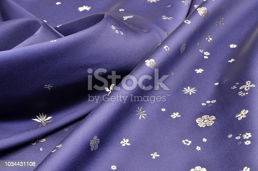Silk blue with floral ornament